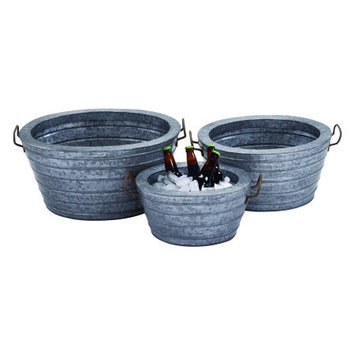 Benzara 38173 Metal Galvn Wine Tub with Robust and Rust Finish - Set of 3
