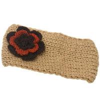 Gold Medal Girls Beige Two Tone Flower Embellished Ear Warmer Knitted Headband