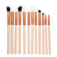 12Pcs Eyes Makeup Brushes Set Wood Handle Eyeshadow Eyebrow Eyeliner Blending Powder Smudge Brush