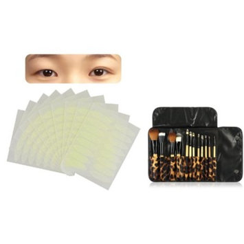 Zodaca 12pcs Makeup Brushes Set Powder Brush kit Case Bag+160 Pairs Breathable Double Eyelid Sticker Tape Wide