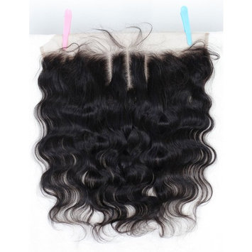 Chantiche 3 Way Part Lace Frontal Closure 13x4 With Baby Hair Body Wave Virgin Brazilian Human Hair Full Lace Closure Ear to Ear Natural Color Bleached Knots 16inches Natural Color []