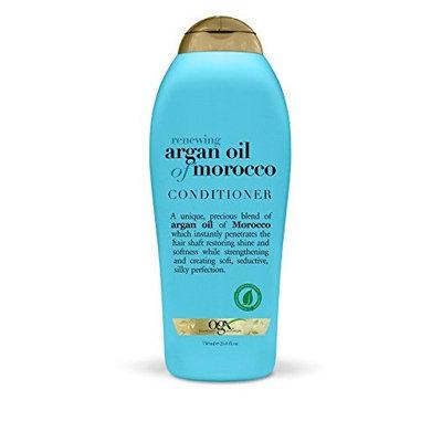 OGX Salon Size Renewing Argan Oil of Morocco Conditioner 25.4 OZ (Pack of 2) + (Vitaminder Power Shaker Bottle, 20 oz Bottle)
