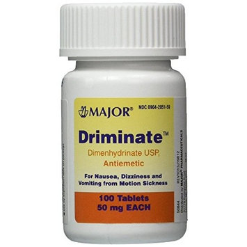 Driminate Generic for Dramamine Motion Sickness 50 mg Anti Nausea 100 ct (6 Pack)