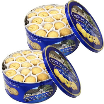 Royal Dansk Butter Cookies Tin Set, 4 Lb Total - 2 Tins Filled with Assorted Danish Cookies (2 Pack (2 Lb x 2))