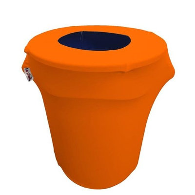 LA Linen SpandexCover32G-OrangeX48 Stretch Spandex Trash Can Cover 32 gal Round Orange
