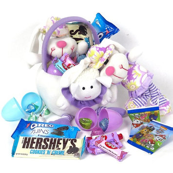 Hershey's candy and chocolate gift Easter basket, includes: Cookies and Cream bar, Oreos, Kit Kats, Paw Patrol gummys and more. Fabric, reusable, adorable Easter basket for kids. Funny.