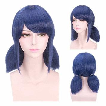 Kadiya Short Blue Prestyled 2 Plaits Pony Side Bangs Girls Cosplay Costume Wigs