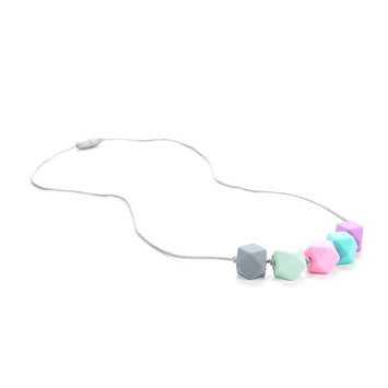 Silicone Teething Necklace - 4 Color Choices - Baby Safe For Mom To Wear - BPA-Free Beads To Chew - Stylish & Natural
