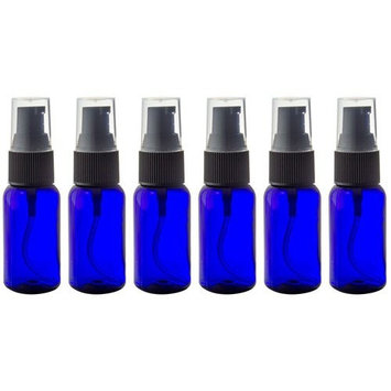 Cobalt Blue 1 oz Boston Round PET (BPA Free) with Treatment Pump (6 Pack) + Labels