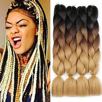 XtrendHair 5pcs Multicolor Synthetic Ombre Braiding Hair Fashion Crochet Braids Hair for Women 24 Inch (53#, 5pcs/Lot)