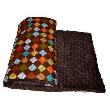 Tivoli Couture Plush Reversible Stroller Liner, Argyle Chocolate