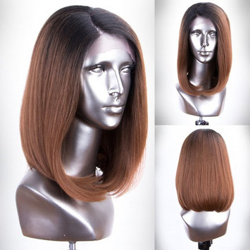 Persephone L Part Brown Bob Wig Short Glueless Ombre Synthetic Wigs for Women Right Side Part Bob Lace Front Wigs with Dark Roots.