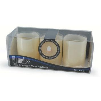 Mark Feldstein & Associates Inc Mark Feldstein & Assocaiates, B23PK, Flameless Wax Melted Top Votives, 3-Pack Flameless Votive Candles