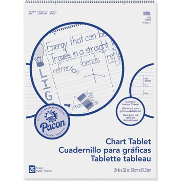 Pacon Chart Tablets w/Manuscript Cover, Ruled, White, 25 Sheets/Pad
