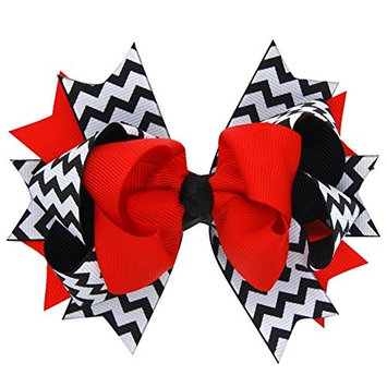 dds5391 Cute Baby Infant Girl Hair Accessories Hair Clip Zigzag Bowknot Hairpin Bow - Red