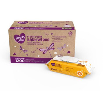 Walmart Parents Choice Fresh Scent Baby Wipes, 12 packs of 100 (1200 count)