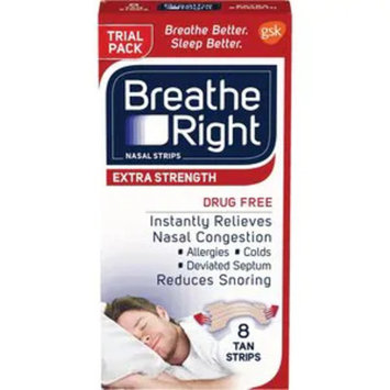 Breathe Right Nasal Strips to Stop Snoring, Drug-Free, Extra Tan, 8 CT TRIAL SIZE