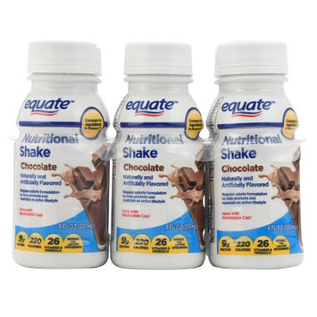 Equate Chocolate Nutritional Shake, 8 fl oz, 6 count