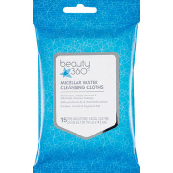 Beauty 360 Micellar Water Cleansing Cloths, 15/Pack