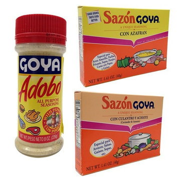Chefs Secret Ingredient Goya All Purpose Seasoning Bundle with Goya Adobo with Pepper 8 Oz, Sazon Goya Con Culantro Y Achiote 1.41 Oz, and Sazon Goya Con Azafran 1.41 Oz (3 Items)