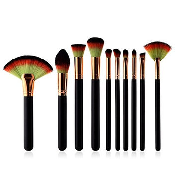 10pcs Professional Makeup Brush Set Kit Wooden Handle Cosmetic Contour Lip EyeShadow Brushes Powder Blending Fan Brush