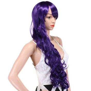 32 Inches Purple Long Big Wavy Cosplay Synthetic Hair Wigs for Women