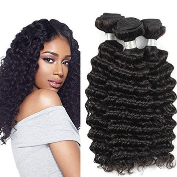 Brazilian Human Hair Bundles With Closure - 100% Unprocessed 9A Brazilian Deep Wave Human Virgin Hair 3 Bundles With Free Part Swiss Lace Closure Natural Color (10