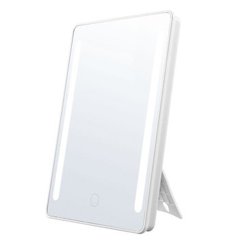 Jerrybox Makeup Mirror 180° Rotation LED Vanity Mirror with Touch Screen Dimming, Portable Convenience and High Definition Cosmetic Mirror
