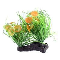 Ceramic Base Orange Flower Green Grass Aquarium Ornament Plant