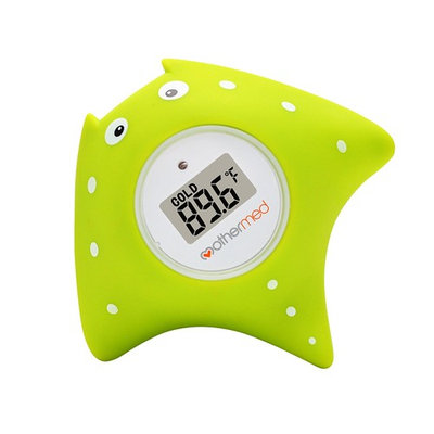 MotherMed Baby Bath Thermometer and Floating Bath Toy BathTub and Swimming Pool Thermometer , Green Fish
