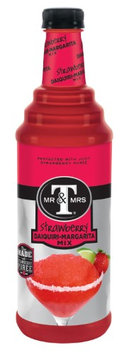 Mr & Mrs T Strawberry Daiquiri-Margarita Mix, 33.8 Fl Oz (Pack of 12)
