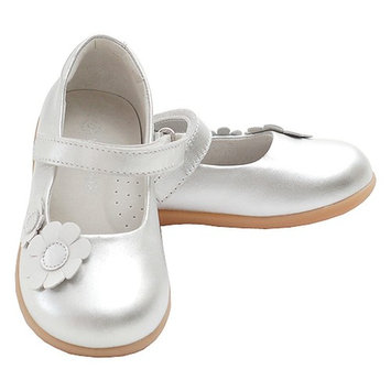 Silver Double Daisy Velcro Strap Sandal Shoes Toddler Little Girls 5-2