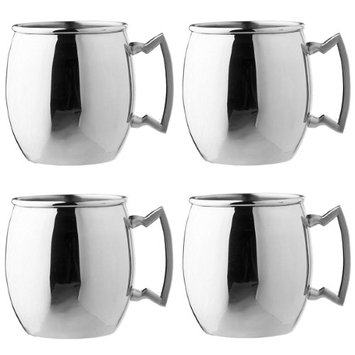 Old Dutch Stainless Steel 16oz Moscow Mule Mug Cocktail Handled Drink Cup Set (Pack of 4)