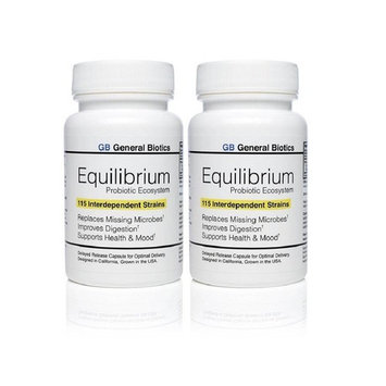 Equilibrium Probiotic Supplement with Prebiotic - Daily Time Release - 60 Effective Easy To Swallow Capsules - Highest Strain Count In The World - 2 Bottles [2]