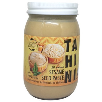 Natural Earth Tahini - All Natural Sesame Seed Paste - Glass jar - No Preservatives, No Chemicals, No Additives - Certified Kosher - 16 oz