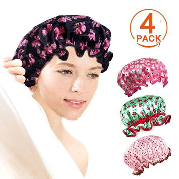 Fashionable Large Bathing Shower Cap For Long Hair Woman Double Layer Waterproof Shower Hat Elastic Band Beautiful Elastic And mold resistant hat With 4 Pack Different Patterns