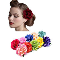 2 in 1 Bride Women Rose Flower Brooch Head Ornament Flower Hair Accessories Wedding Hair Clip 10/7/2 Pairs (10 Pairs)
