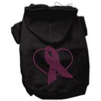 Mirage Pet Products Ribbon Rhinestone Hoodies, Size 12, Black/Pink