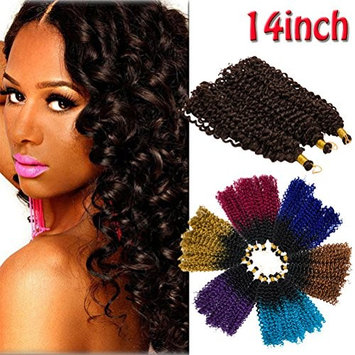 Mambo Twist Synthetic Marlybob Crochet Hair Hair Extension Two-Tone Ombre Water Wave Afro Kinky Curly Bohemian Bulk Braiding Dreadlocks Weave for Black Women 14inch 3 lots/pack 270g-Black to Dark Blue