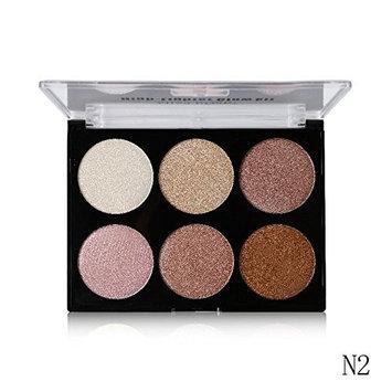Tanali 6 Color Highlighter Powder Palette Contouring Make Up Compact Set (# 2)