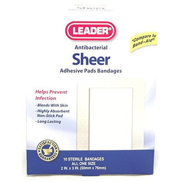 Leader Sheer Adhesive Pad Bandages, 10 Count Per Box