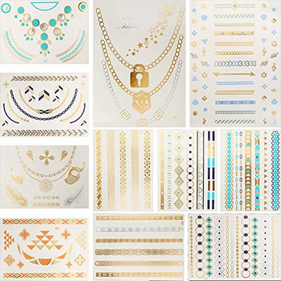11 Sheets Flash Gold Blue Temporary Tattoo Sticker Chain Body Art Jewelry for Women