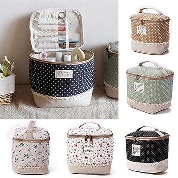 POLYHYMNIA Travel Dot Floral Cosmetic Makeup Bag Toiletry Organizer Lunchbox Storage Case