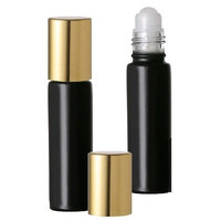 Grand Parfums Black Matte Glass Roll-on Bottles with Gold Top 10ml for Aromatherapy Perfume Cologne Fragrance Set of 18