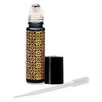 12 .33 Fl. Oz./10 Ml. Black Frosted Glass with Gold Overlay Design/Decoration Roll on Bottles Refillables with Metal Balls and Black Caps