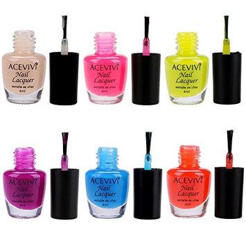 ACEVIVI Manicure Tools Nail Art 4ml Candy Colors Nail Lacquer Nail Polish kit 6PCS