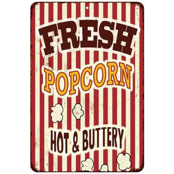 Fresh Popcorn Hot & Buttery Vintage Look Reproduction 8x12 Metal Sign 8120901
