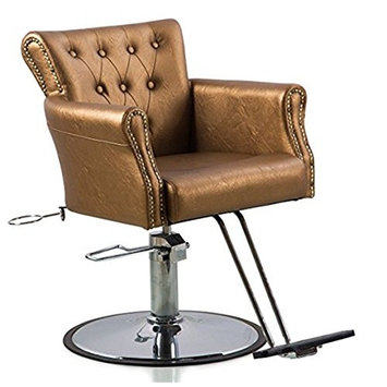 Funnylife Barber Chair Gold PU Hydraulic Stainless Steel Base Equipment