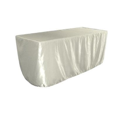 LA Linen TCbridal-fit-96x30x30-IvoryB25 Fitted Bridal Satin Tablecloth Ivory - 96 x 30 x 30 in.