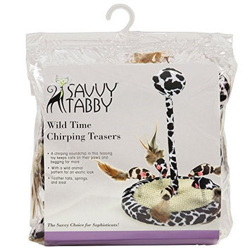 Savvy Tabby Wild Time Chirping Teaser Cat Toy Black